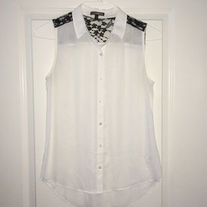 Express Sheer/Lace Sleeveless Blouse Button-down